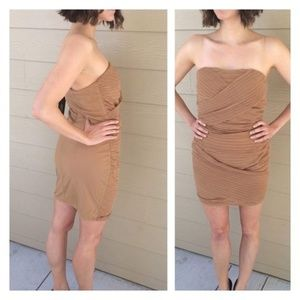 NWT Ark & Co. Large Tan Strapless Dress